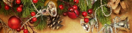 christmas-holiday-bells-cherry-ornaments-on-gold-banner-background-800x200