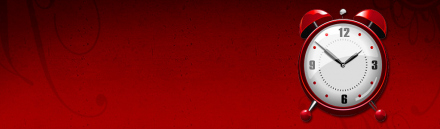 red-clock-on-red-background-header